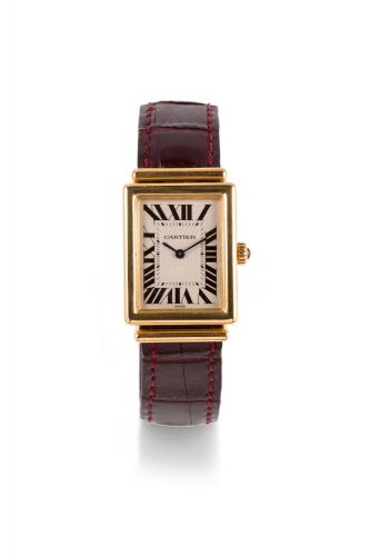 436f142d94680 CARTIER TANK CABRIOLET BASCULANTE, 150TH ANNIVERSARY YELLOW GOLD Cartier  Tank Basculante, 150th Anniversary, No. 72/150. Made in 1997. Fine and  rare, 18k ...