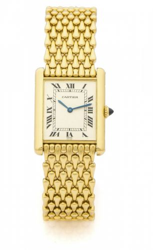 56fab3de9c5b9 CARTIER TANK MECANIQUE YELLOW GOLD A very fine and rare manual-winding 18K  yellow gold wristwatch.