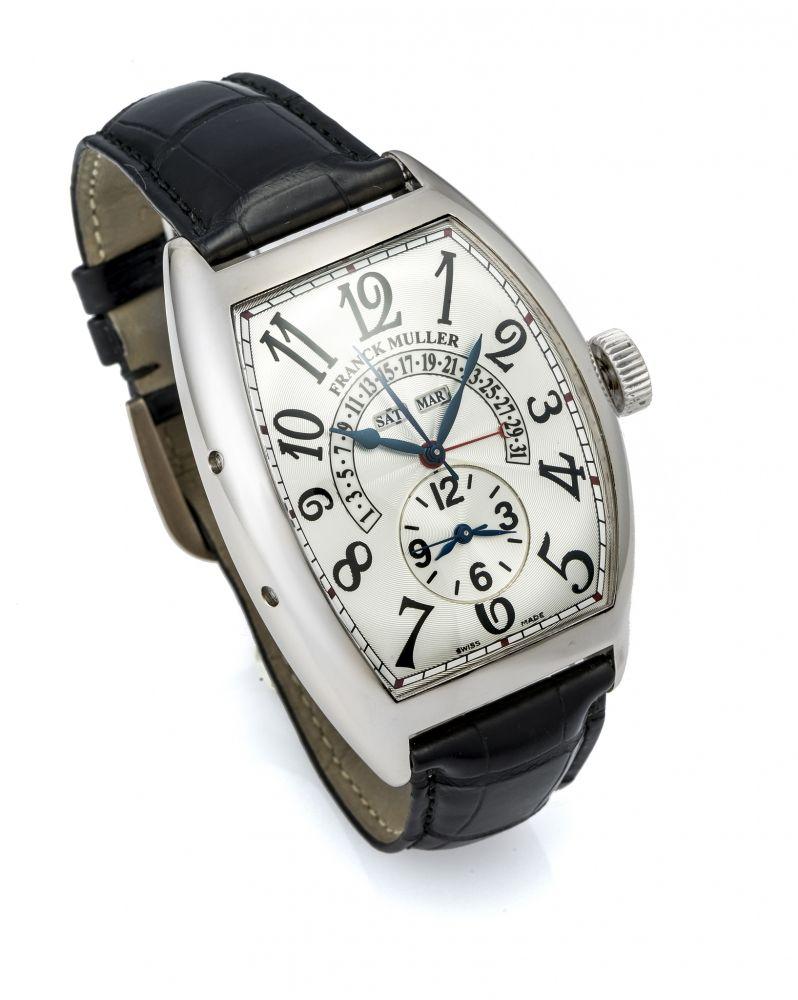 6593f3046421 FRANCK MULLER REF. 9880 TRIPLE CALENDAR DUAL TIME WHITE GOLD Fine and rare,  self-winding, 18K white gold wristwatch with triple-calendar and two time  zones.