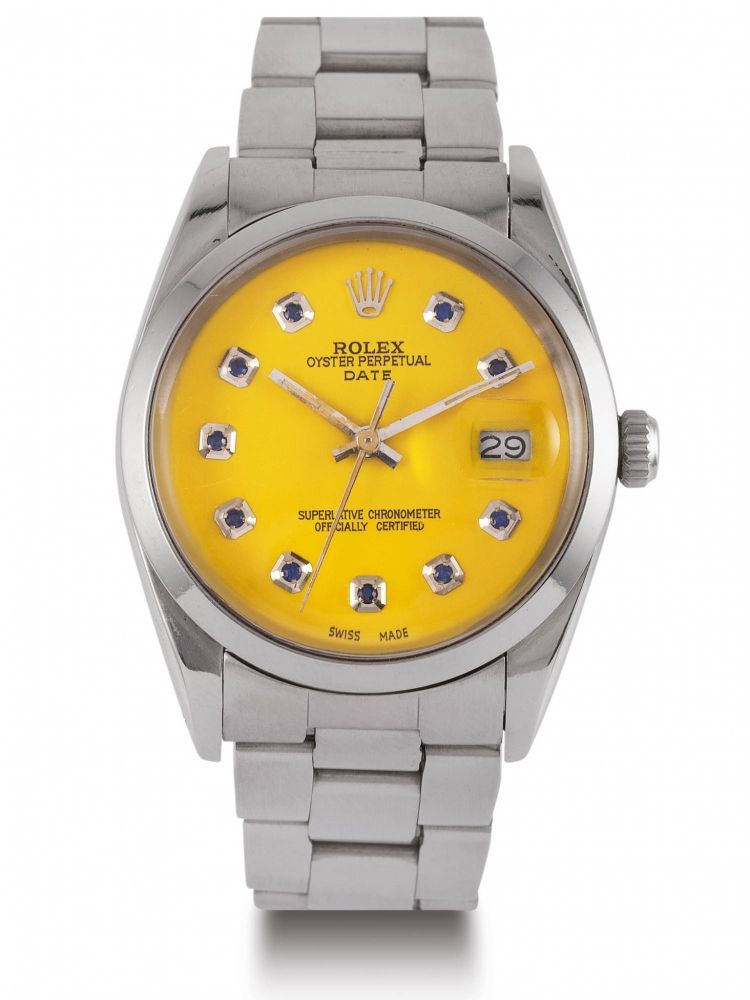 3b84828b27a2d ROLEX OYSTER DATE CUSTOM DIAL STEEL Fine stainless steel self-winding  wristwatch with yellow dial
