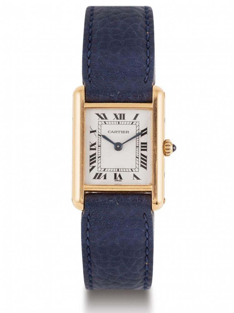 5911a829e98c0 CARTIER TANK YELLOW GOLD Fine lady's 18k yellow-gold rectangular quartz  wristwatch with cream dial. Pb: 24,8g Belle montre-bracelet de dame en or jaune  18k.