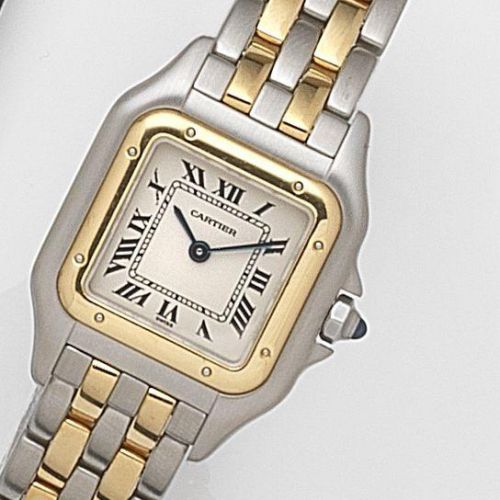 4fa8c2bf98d4 Cartier. A lady s stainless steel and gold quartz bracelet watch