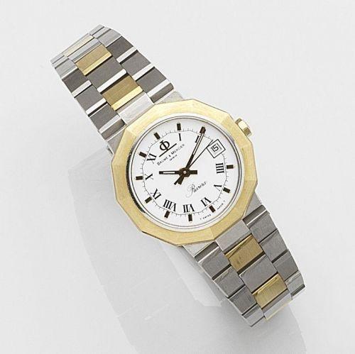 10094753c208 Baume   Mercier. A lady s stainless steel and gold quartz calendar bracelet  watch