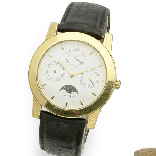By the gold markings on the watch?