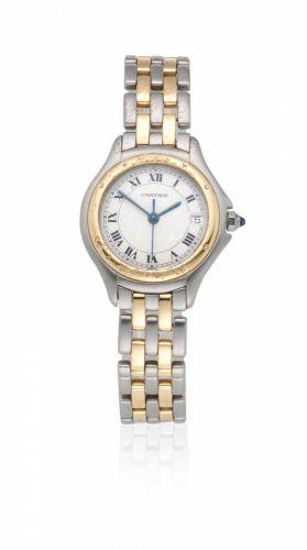 00a042652a9f78 Cartier. A stainless steel and gold quartz calendar bracelet watch