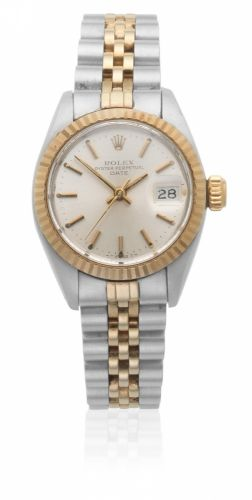 4f37990c7de Rolex. A lady's stainless steel and gold automatic calendar bracelet watch