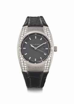 50708c3f3c8 Bulgari. An 18k White Gold and Diamond-Set Wristwatch With Date