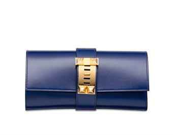 8d899099990e A BLEU SAPHIR TADELAKT LEATHER MÉDOR 23 WITH GOLD HARDWARE