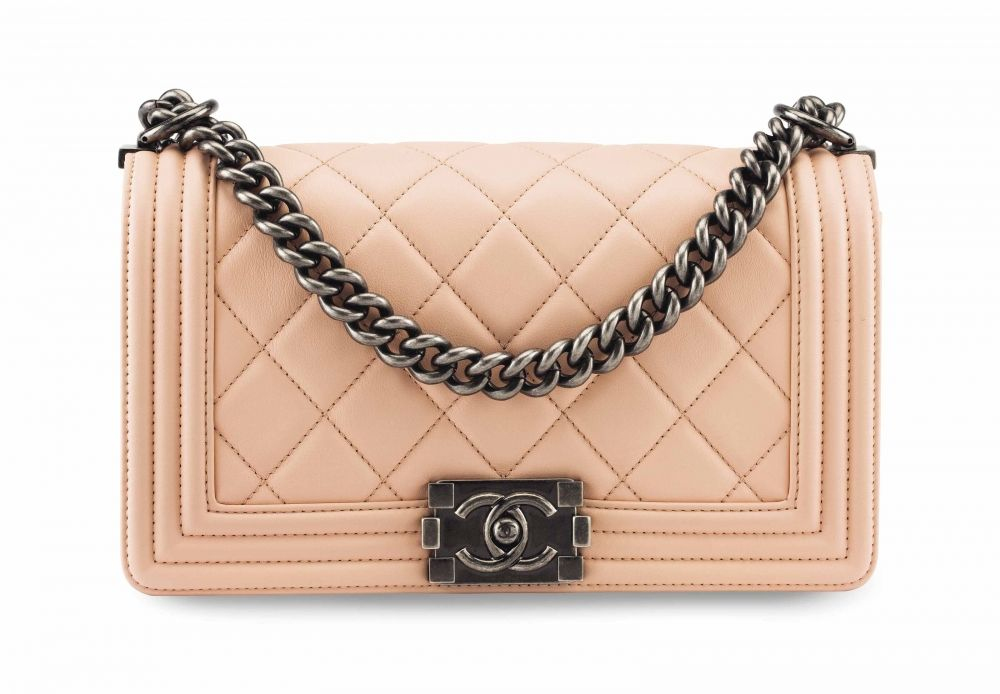 700cfd82e18c A LIGHT PINK QUILTED LAMBSKIN LEATHER MEDIUM BOY BAG WITH GUNMETAL HARDWARE  CHANEL, 2014