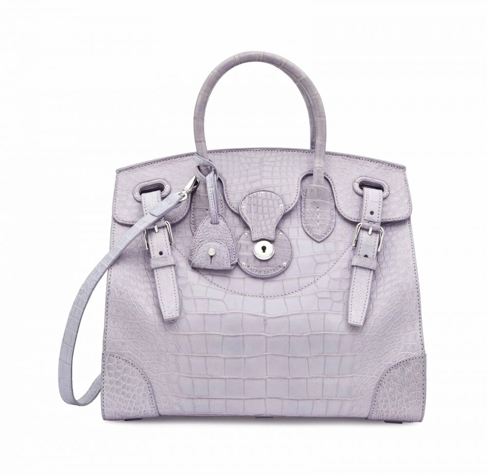2fc75e74fb27 A MATTE DUSTY LAVENDER ALLIGATOR SOFT RICKY WITH SILVER HARDWARE RALPH  LAUREN