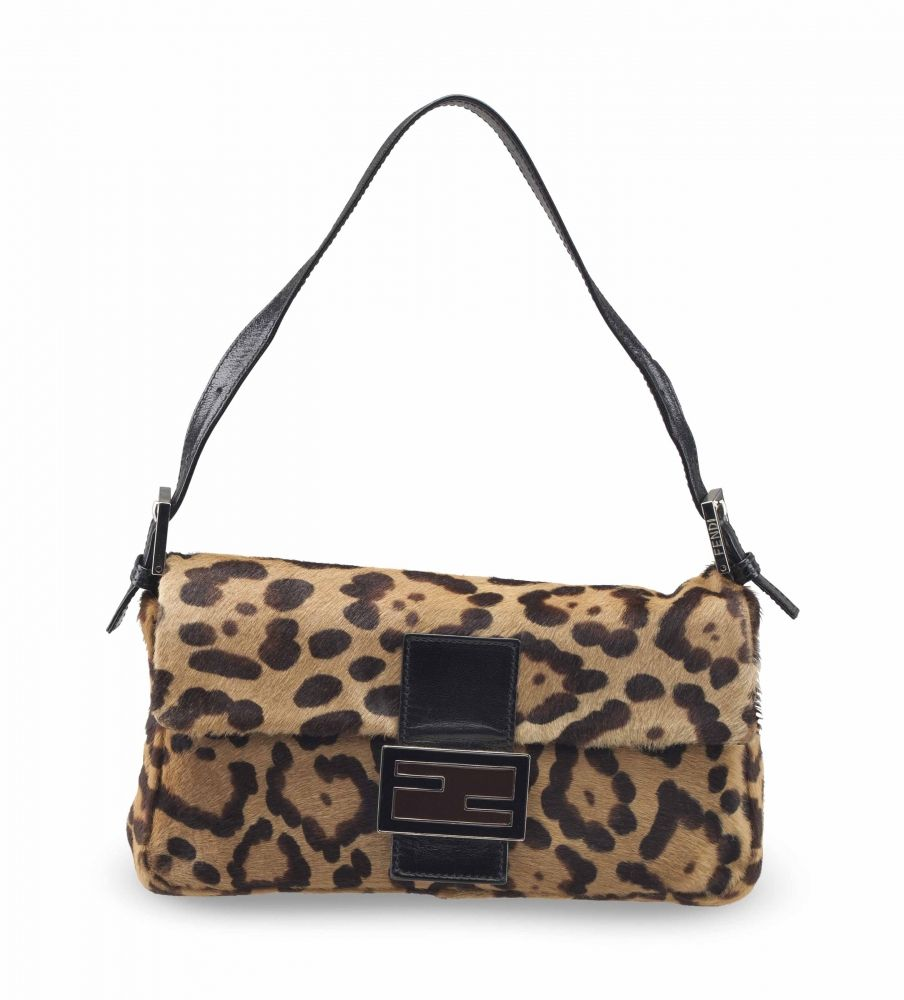 A LEOPARD PRINT PONY HAIR BAGUETTE WITH SILVER HARDWARE FENDI, 2000s 8521a07a905