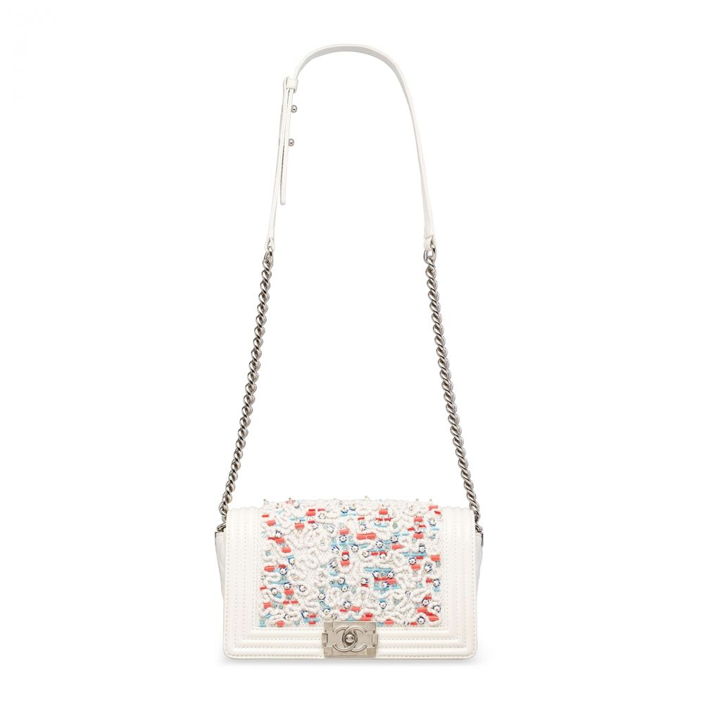 832f456b1fef A WHITE LAMBSKIN LEATHER, PEARL, SEQUIN & CRYSTAL MEDIUM BOY BAG WITH  SILVER HARDWARE CHANEL, 2014