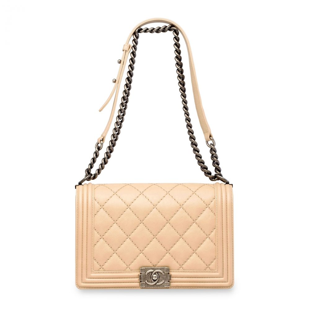 6371be6dc3c8 A BEIGE QUILTED CALFSKIN LEATHER MEDIUM BOY BAG WITH ANTIQUED SILVER  HARDWARE CHANEL, 2014