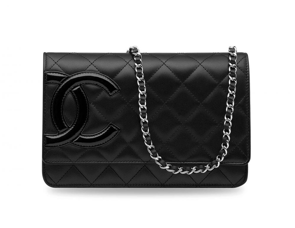 c6ad98f1aed7 A BLACK LAMBSKIN LEATHER CAMBON WALLET ON CHAIN WITH SILVER HARDWARE CHANEL,  2009