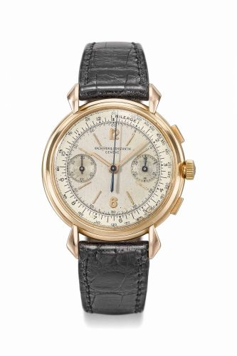 36480e6254c A RARE AND ATTRACTIVE 18K PINK GOLD CHRONOGRAPH WRISTWATCH WITH TWO-TONE  SILVERED DIAL AND BOX