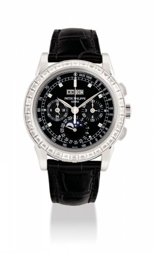 2d5f37374d9 PATEK PHILIPPE. A VERY FINE AND RARE PLATINUM AND DIAMOND-SET PERPETUAL  CALENDAR CHRONOGRAPH WRISTWATCH WITH MOON PHASES
