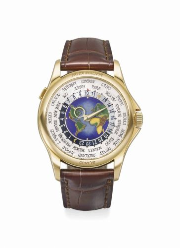 cd1882c854f Patek Philippe. A Fine and Rare 18k Gold Automatic World Time Wristwatch  With Cloisonné Enamel Dial
