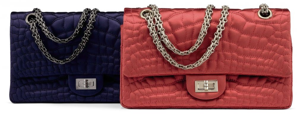 c04b291112c4 A SET OF TWO A NAVY SATIN CROCO QUILTED SMALL 2.55 REISSUE DOUBLE FLAP BAG  WITH GUNMETAL HARDWARE A RED SATIN CROCO QUILTED SMALL 2.55 REISSUE DOUBLE  FLAP ...