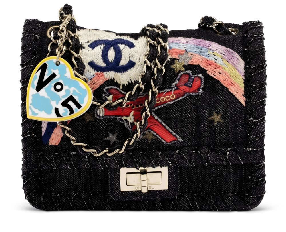 e112266acded A LIMITED EDITION DENIM   MULTICOLOR EMBROIDERY AIRPLANE OVER RAINBOW  SQUARE 2.55 REISSUE SINGLE FLAP BAG WITH GOLD HARDWARE CHANEL,  SPRING SUMMER 2006