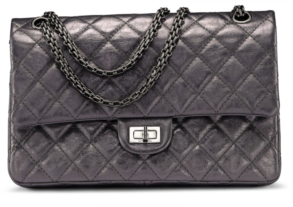 6a519fedc186ce A METALLIC GREY QUILTED AGED LAMBSKIN 2.55 REISSUE DOUBLE FLAP BAG 226 WITH  SILVER HARDWARE CHANEL, 2008-2009