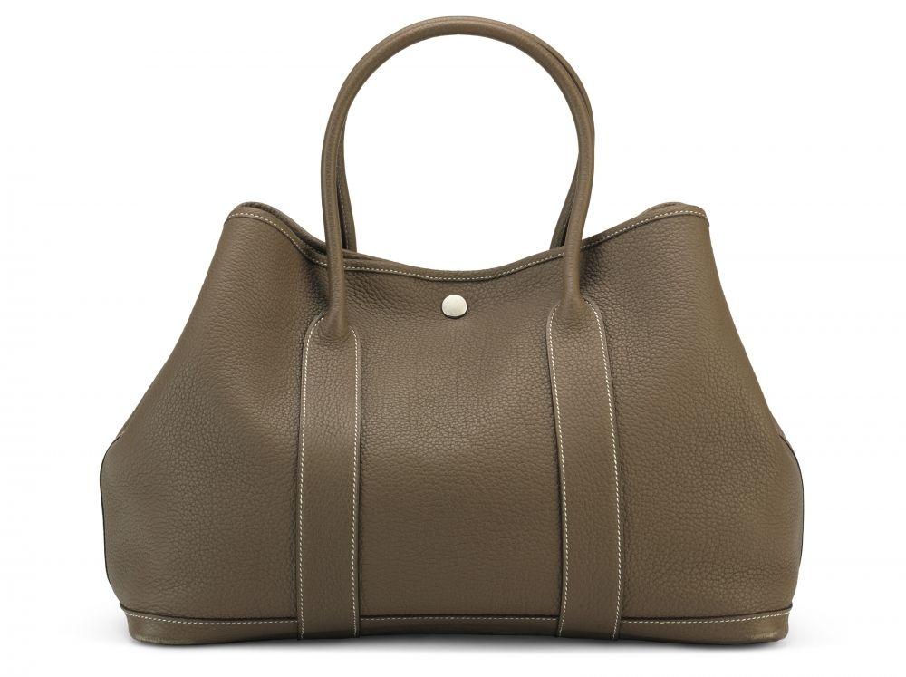 AN ÉTOUPE NEGONDA LEATHER GARDEN PARTY MM WITH PALLADIUM HARDWARE HERMÈS,  2013 9d8b9f29cf