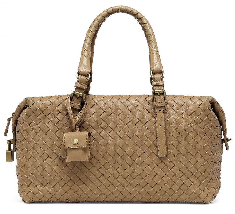 8a733850ab A BEIGE INTRECCIATO NAPPA LEATHER BOSTON BAG WITH GOLD HARDWARE BOTTEGA  VENETA
