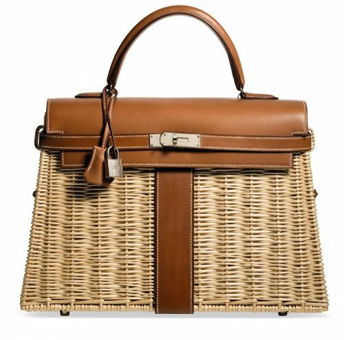 65e69ab6f7a6 A LIMITED EDITION NATURAL BARÉNIA LEATHER & OSIER PICNIC KELLY 35 WITH  PALLADIUM HARDWARE