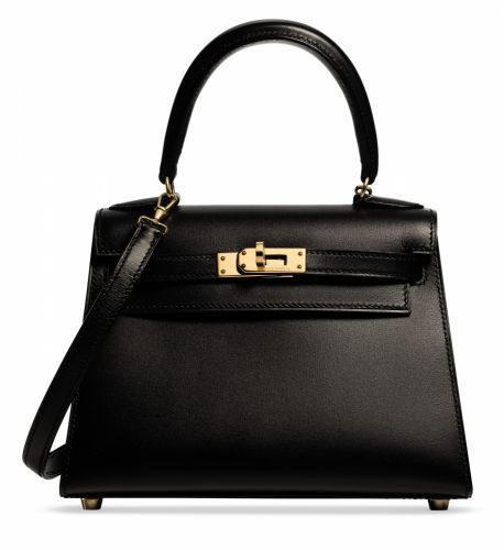 11b134d4760c A BLACK CALF BOX LEATHER MINI SELLIER KELLY 20 WITH GOLD HARDWARE