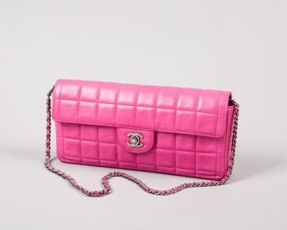 dce7c8a50f8376 Chanel Red Quilted Lambskin Leather East West Single Flap Bag with.Silver  Hardware.