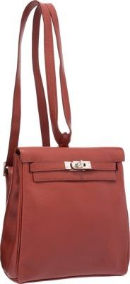 ffbeeee457a3 Hermes 20cm Brick Swift Leather Kelly Ado Backpack Bag with.Palladium  Hardware.