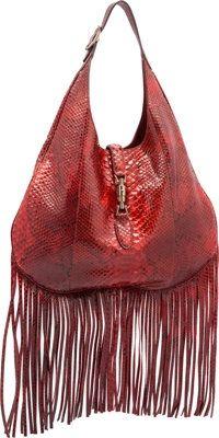 f5f492842b909d Gucci Glazed Red Python Nouveau Fringe Jackie Hobo Bag. Pristine.Condition.  16 Width x 11 Height x 3 Depth.