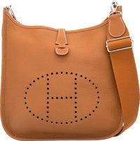 4da56773aa3b Hermes Gold Clemence Leather Evelyne III PM Bag with Palladium.Hardware. T